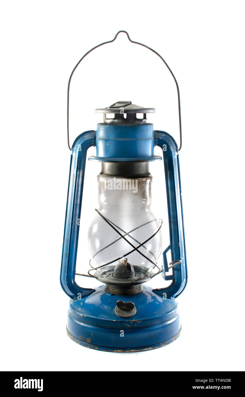 A kerosene lamp on a white background with unlit wick - Stock Image