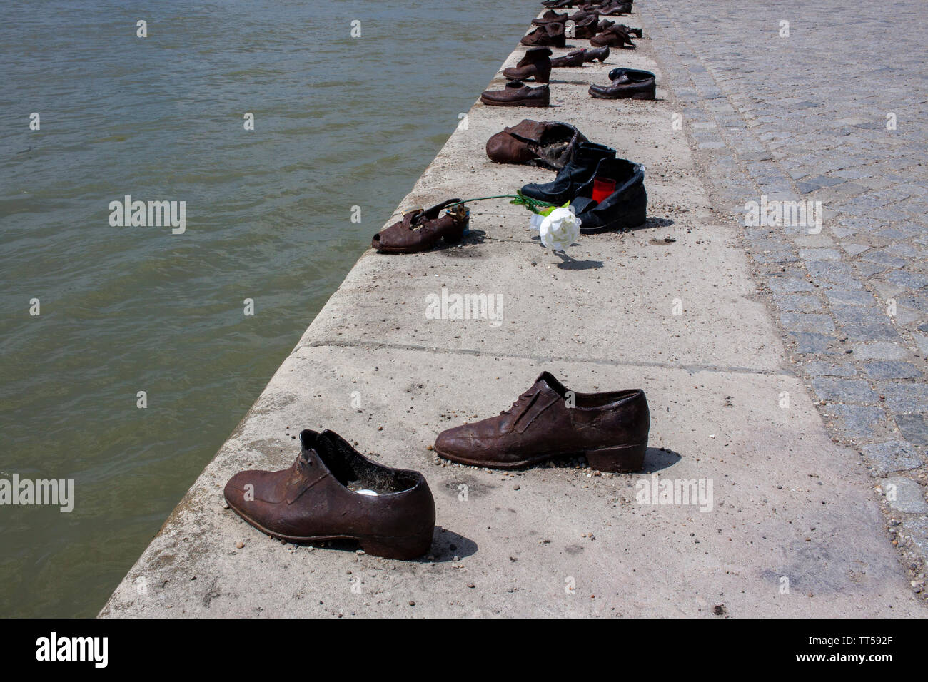 A view of the Danube River from the Shoes on the Danube memorial. Lewis Mitchell. - Stock Image