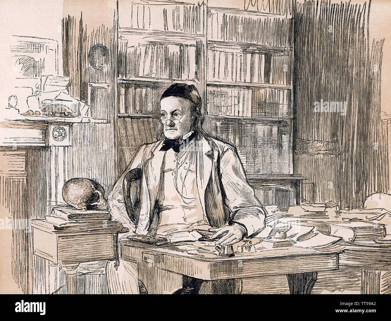 RICHARD OWEN (1804-1892) English biologist and comparative anatomist in his study about 1875 - Stock Image