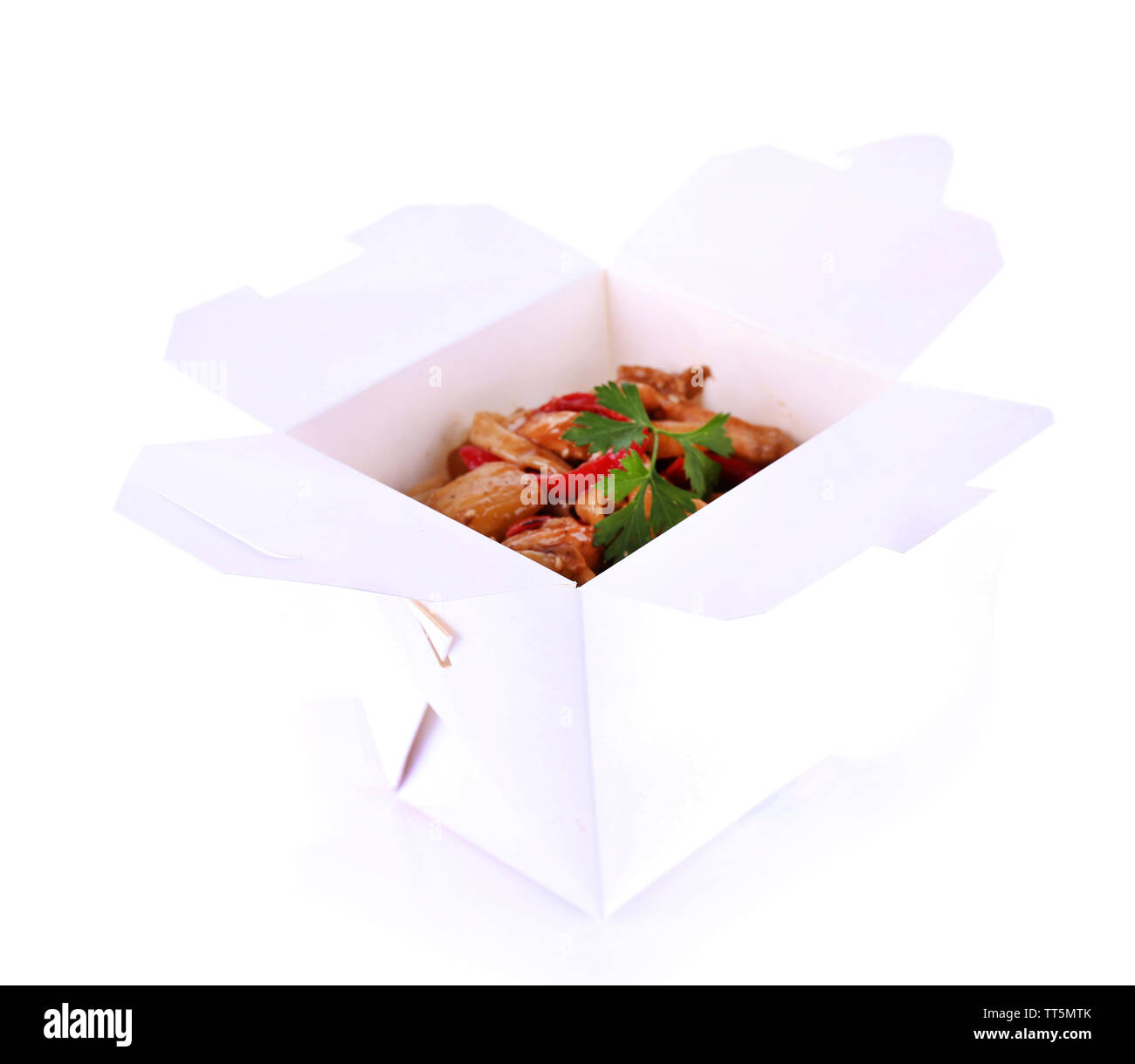 Fried noodle in takeaway box isolated on white - Stock Image