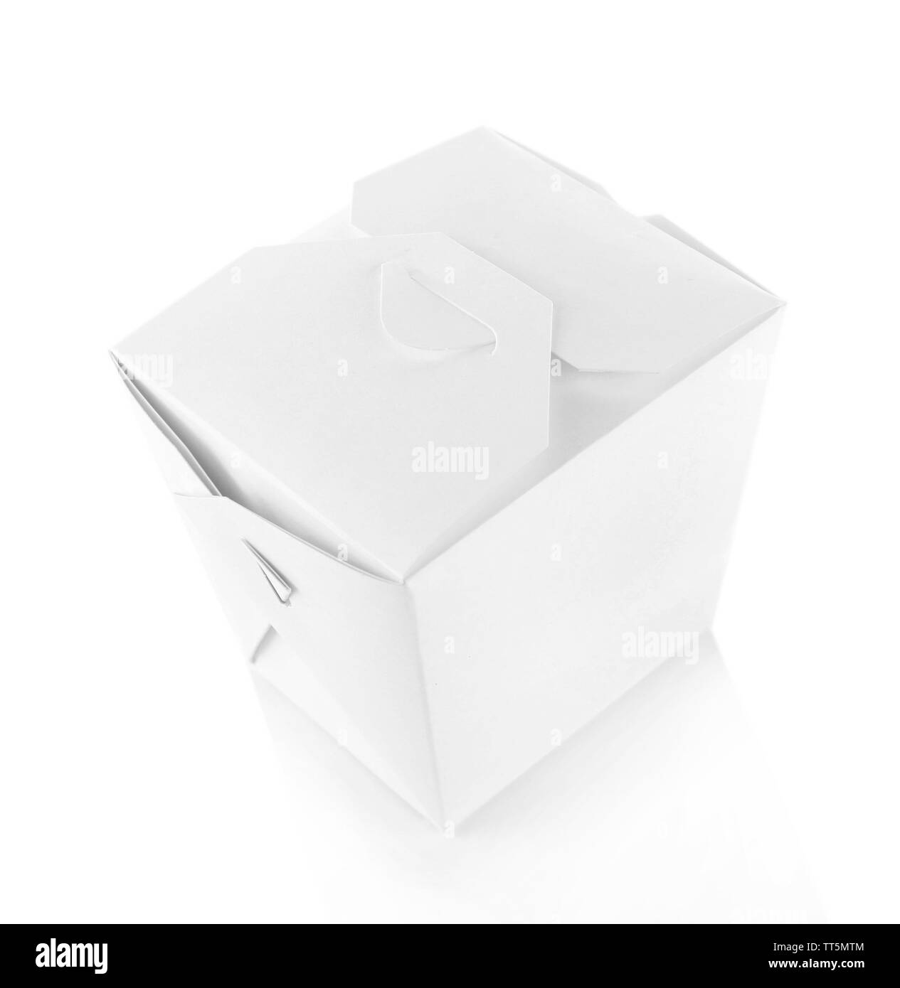 Takeaway box with food isolated on white - Stock Image