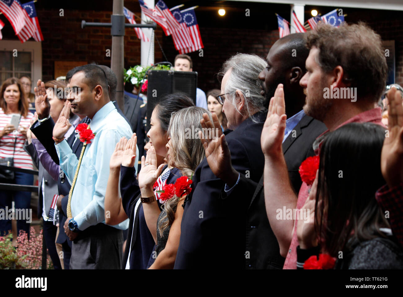 Oath Allegiance Naturalization Ceremony Stock Photos & Oath