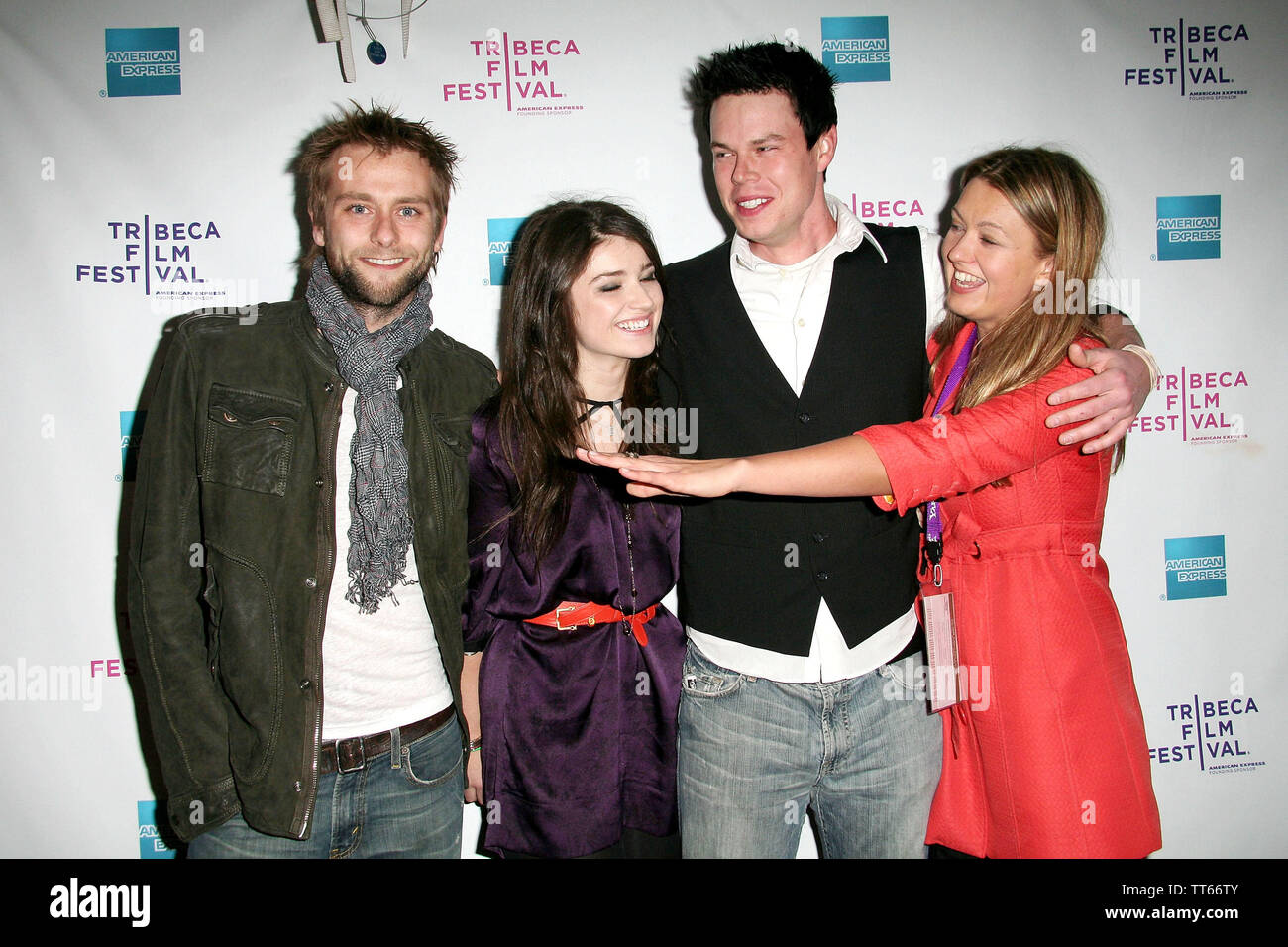 New York, USA. 26 April, 2008. Joe Anderson, Eve Hewson, David P. Emrich, Erica Dunton at the Premiere Of 'The 27 Club' At The 2008 Tribeca Film Festival at AMC Theater. Credit: Steve Mack/Alamy - Stock Image