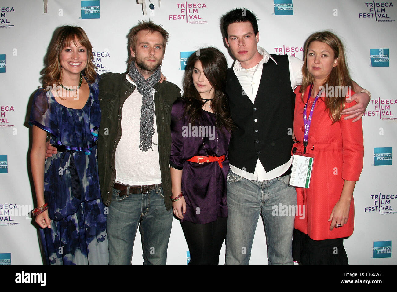 New York, USA. 26 April, 2008. Alexie Gilmore, Joe Anderson, Eve Hewson, David P. Emrich, Erica Dunton at the Premiere Of 'The 27 Club' At The 2008 Tribeca Film Festival at AMC Theater. Credit: Steve Mack/Alamy - Stock Image