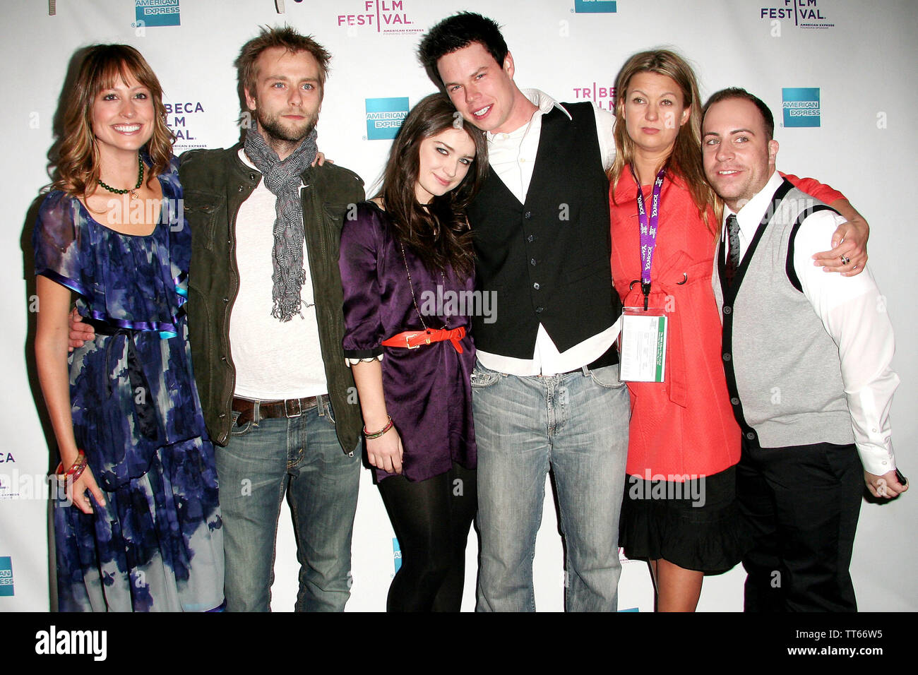 New York, USA. 26 April, 2008. Alexie Gilmore, Joe Anderson, Eve Hewson, David P. Emrich, Erica Dunton, guest at the Premiere Of 'The 27 Club' At The 2008 Tribeca Film Festival at AMC Theater. Credit: Steve Mack/Alamy - Stock Image