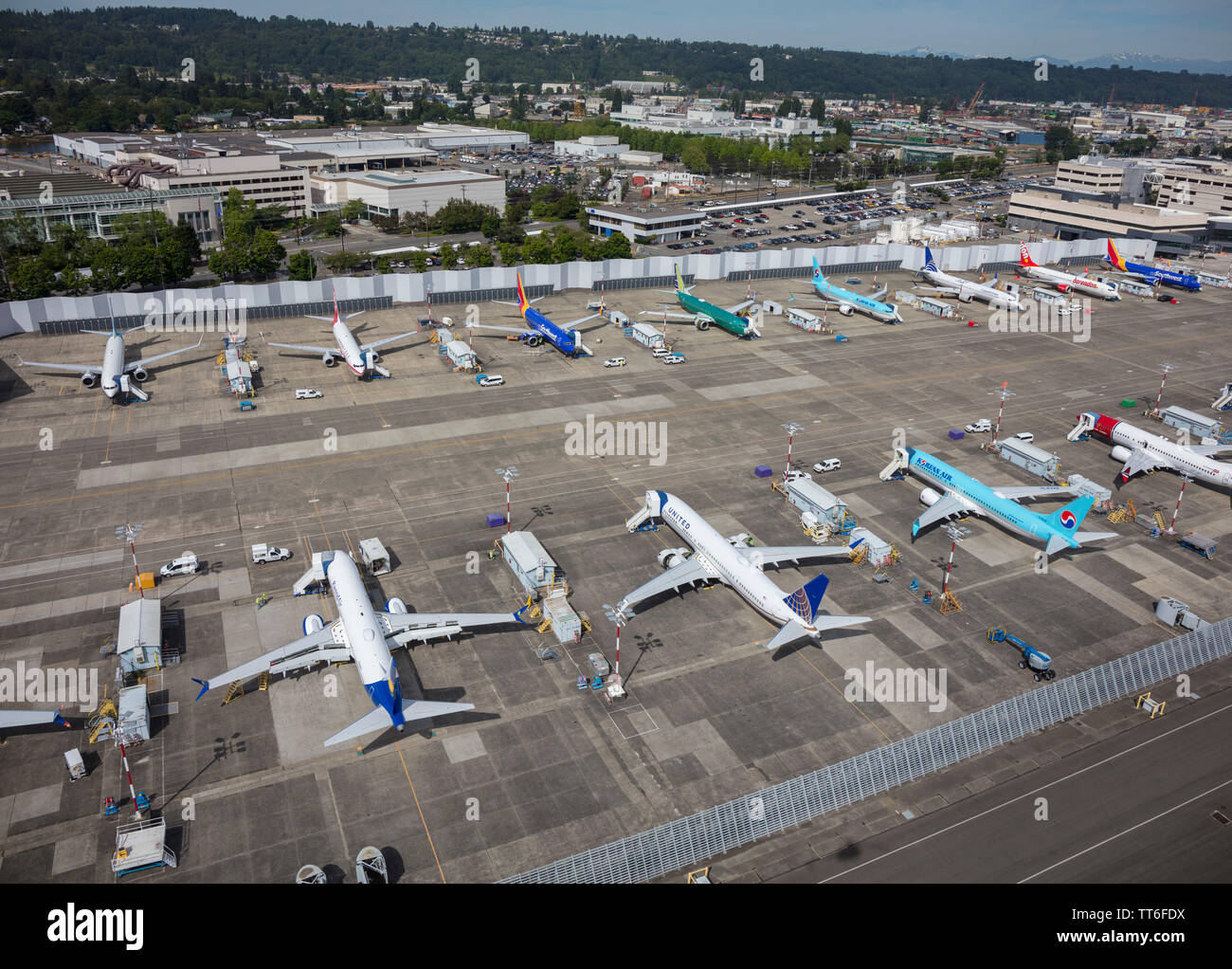 June 2019: Boeing 737 Max aircraft grounded at Boeing Field factory near Seattle, Washington, USA, during the crisis caused by unsafe software - Stock Image