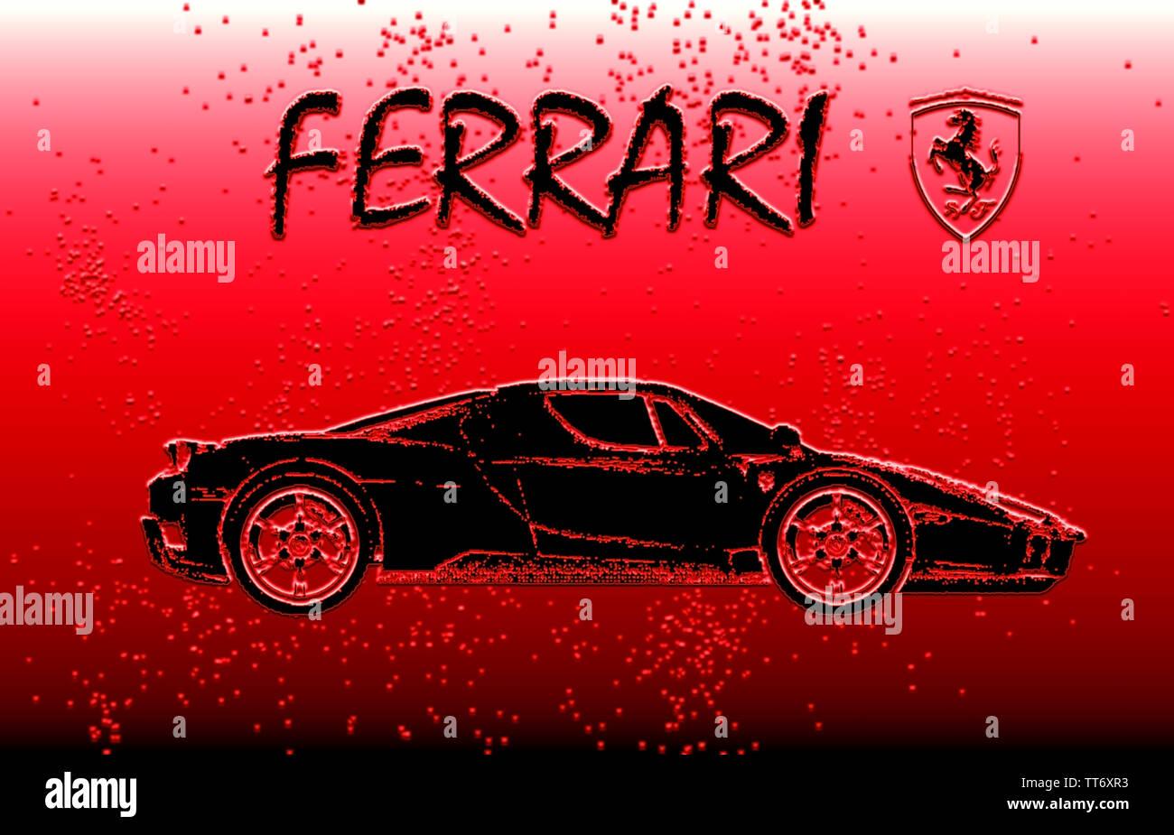 Daiblo Red Black Ferrari Logo Stallion Wallpaper Background Stock Photo Alamy