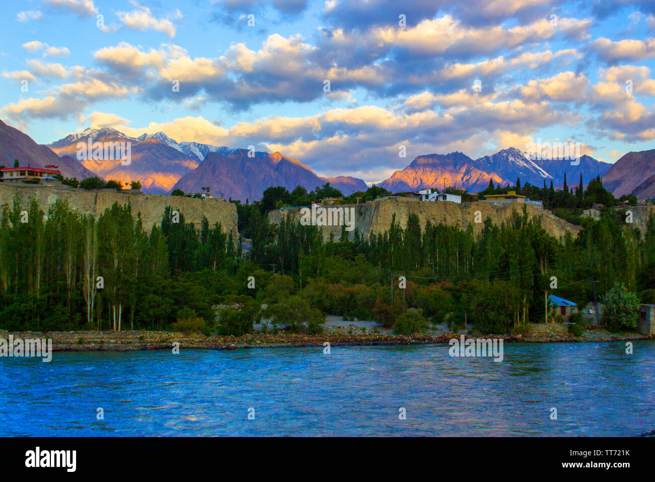 River Danyore passing hrough the heart of Gilgit - Stock Image