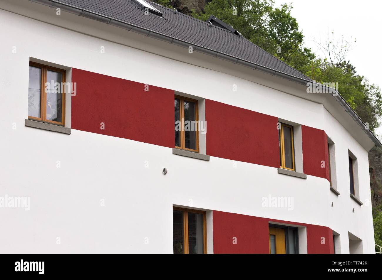 Red and white German house (Moselkern, Germany, Europe) Stock Photo