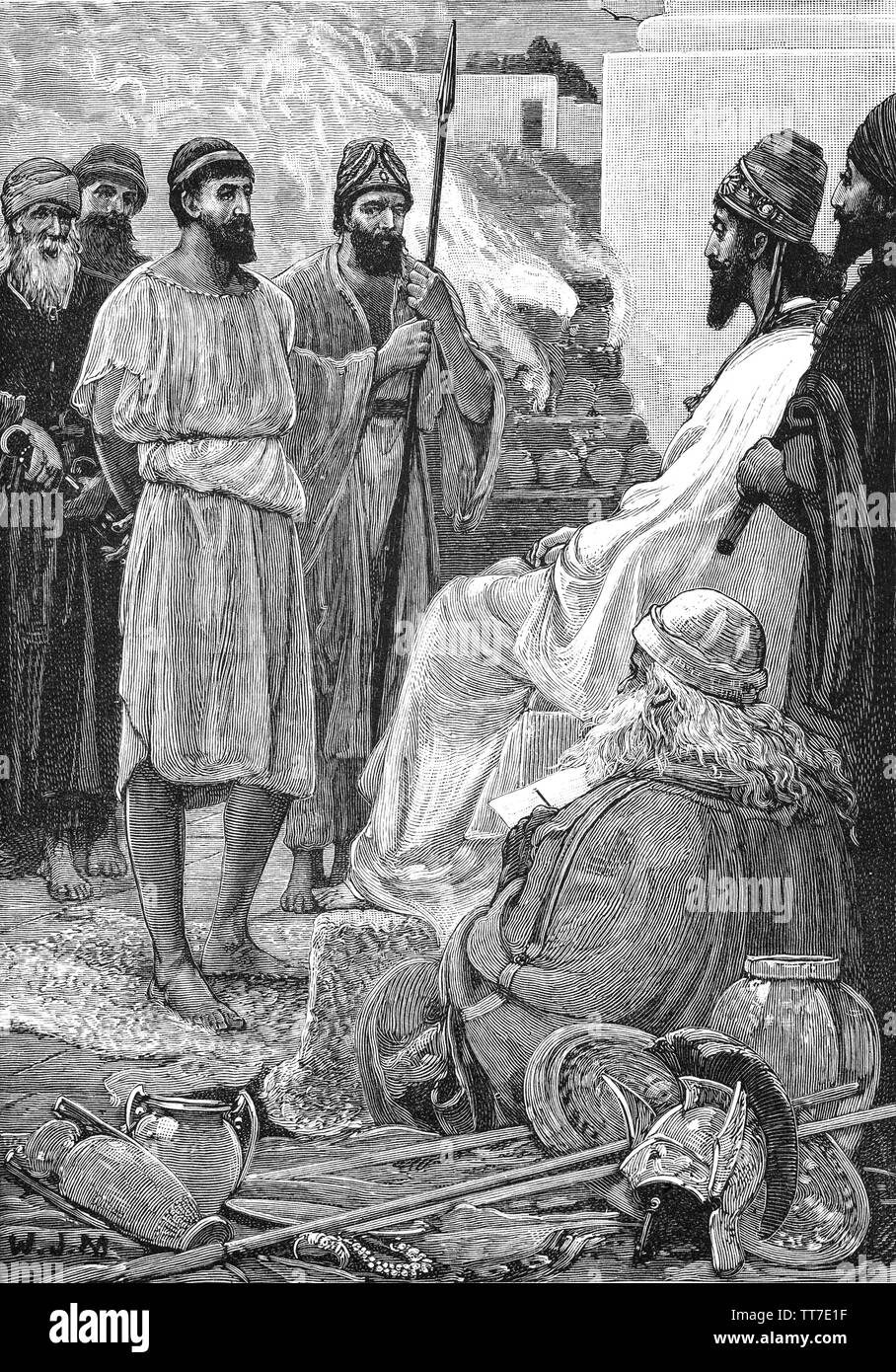 Croesus (595 BC - 546 BC) was the king of Lydia who reigned for 14 years: from 560 BC until his defeat by the Persian king Cyrus the Great in 546 BC.   The kingdom was ravaged and Croesus was captured and ordered to be executed. As Croesus is about to be burned on a pyre, he cries out the prophet Solon's name. Cyrus stops to hear what Croesus has to say. Croesus relates Solon's story to about great wealth to Cyrus, who is moved by the notion that Fate can bring misery to a rich man and happiness to a poor man.  Croesus is freed and the emperor and the king become good friends. - Stock Image