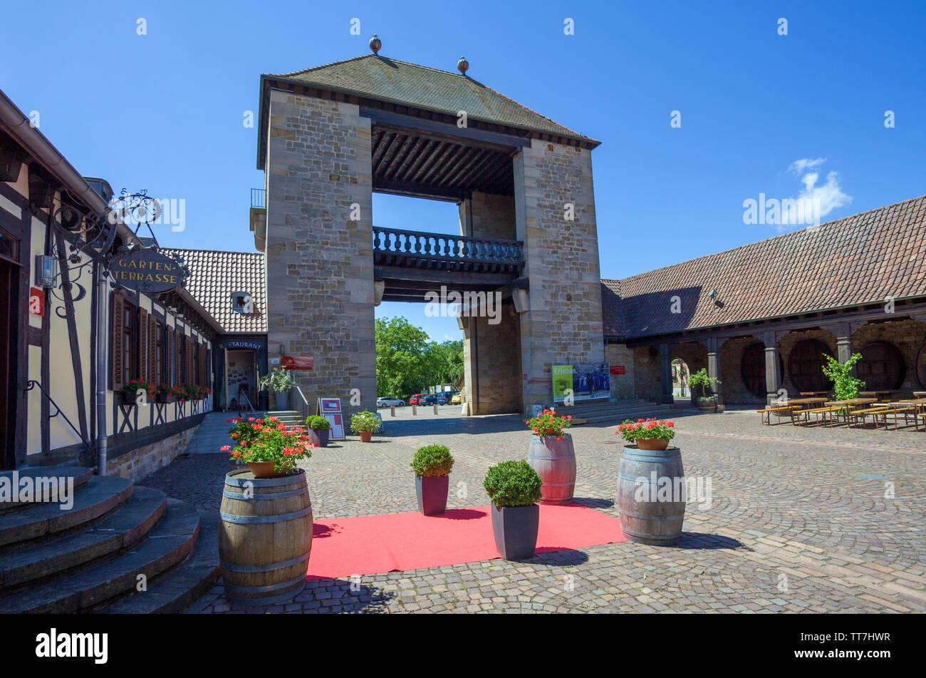 The German Wine Gate (german: Deutsches Weintor), marks the beginning of the German Wine Route, Schweigen-Rechtenbach, Rhineland-Palatinate, Germany Stock Photo