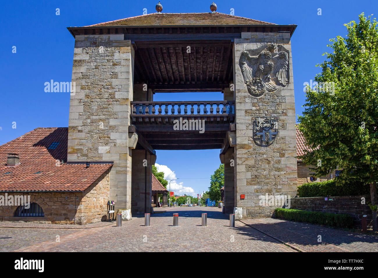 The German Wine Gate (german: Deutsches Weintor), marks the beginning of the German Wine Route, Schweigen-Rechtenbach, Rhineland-Palatinate, Germany - Stock Image