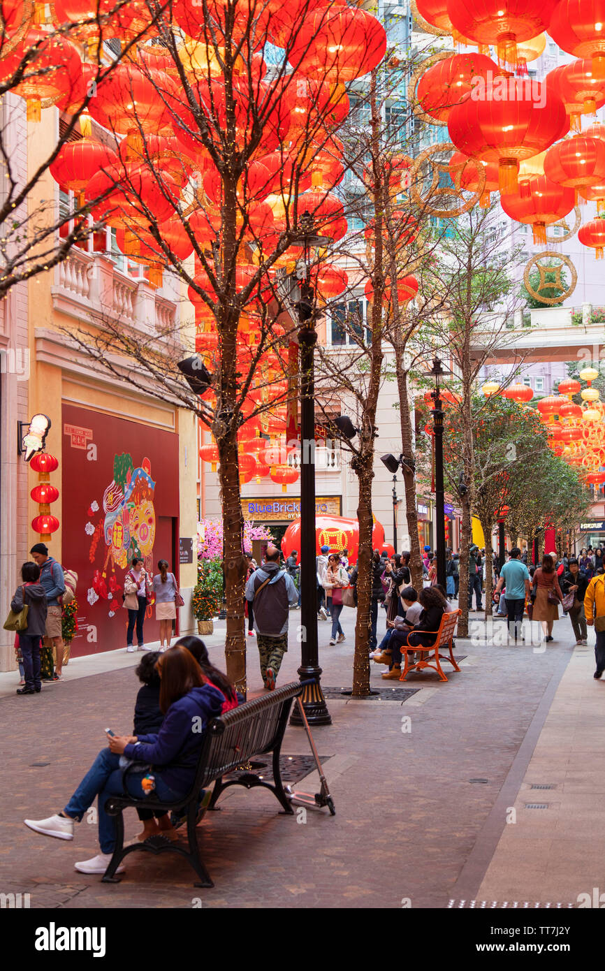 Chinese New Year decorations on Lee Tung Avenue, Wan Chai, Hong Kong Island, Hong Kong Stock Photo