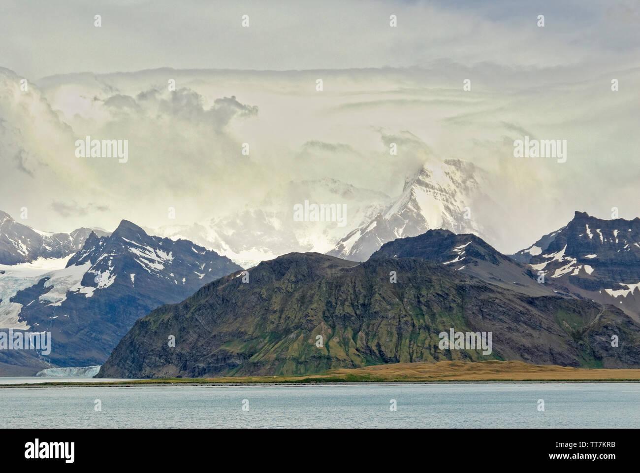 Coastal mountains around Grytviken bay, South Georgia, Antartica - Stock Image