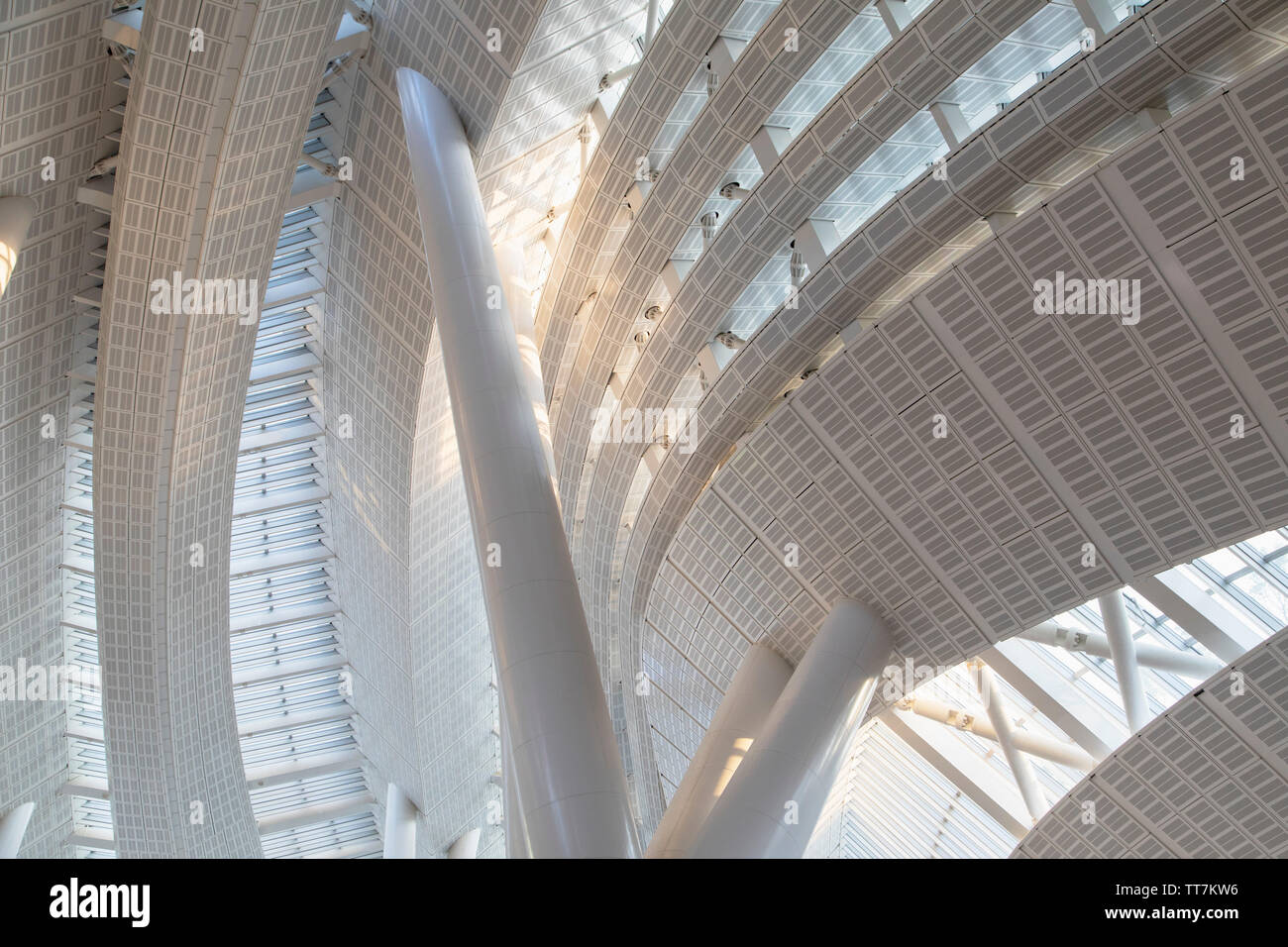 Interior of West Kowloon High Speed Rail Station, West Kowloon, Hong Kong - Stock Image