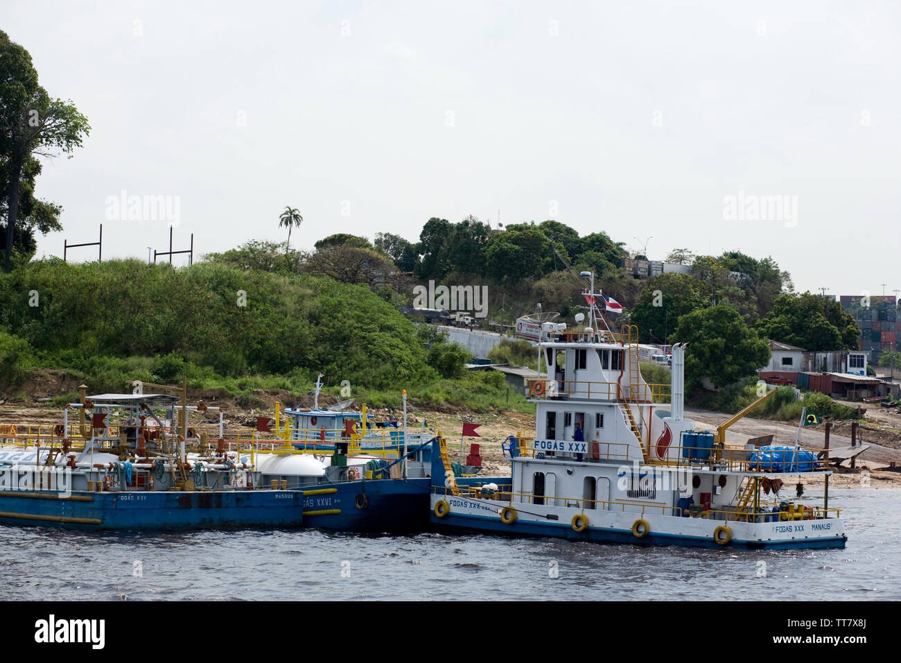 Embark and Disembarkation of Gas, Amazônia, Manaus, Amazonas, Brazil - Stock Image