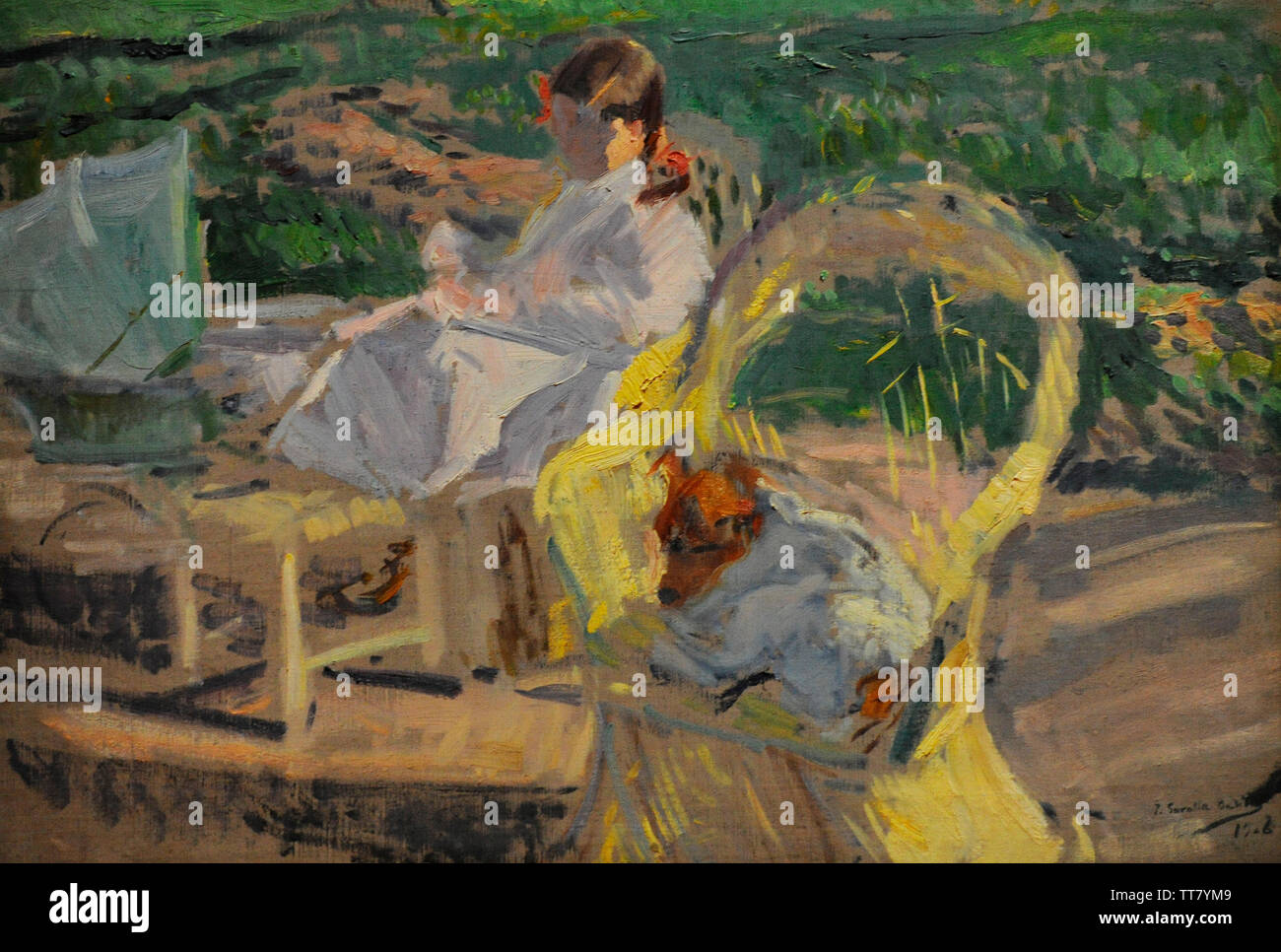 Joaquin Sorolla y Bastida (1863-1923). Spanish painter. In the garden of Miguel Angel Street, 1906. Painting possibly depicting Elena, little daughter of Sorolla, in the garden of the house that the Sorolla family rented on Miguel Angel Street. Sorolla Museum. Madrid. Spain. - Stock Image