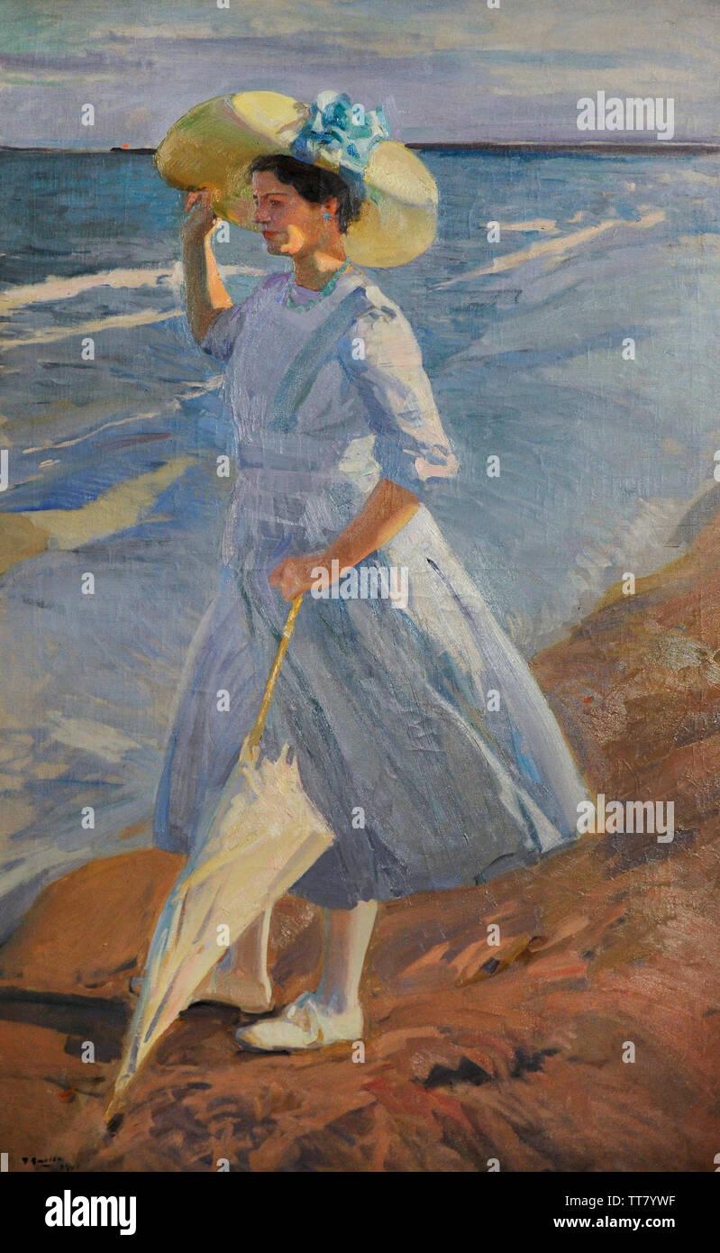 Joaquin Sorolla y Bastida (1863-1923). Spanish painter. Elena at the beach, 1909. Oil in canvas, 200 x 120 cm. Sorolla Museum. Madrid. Spain. - Stock Image