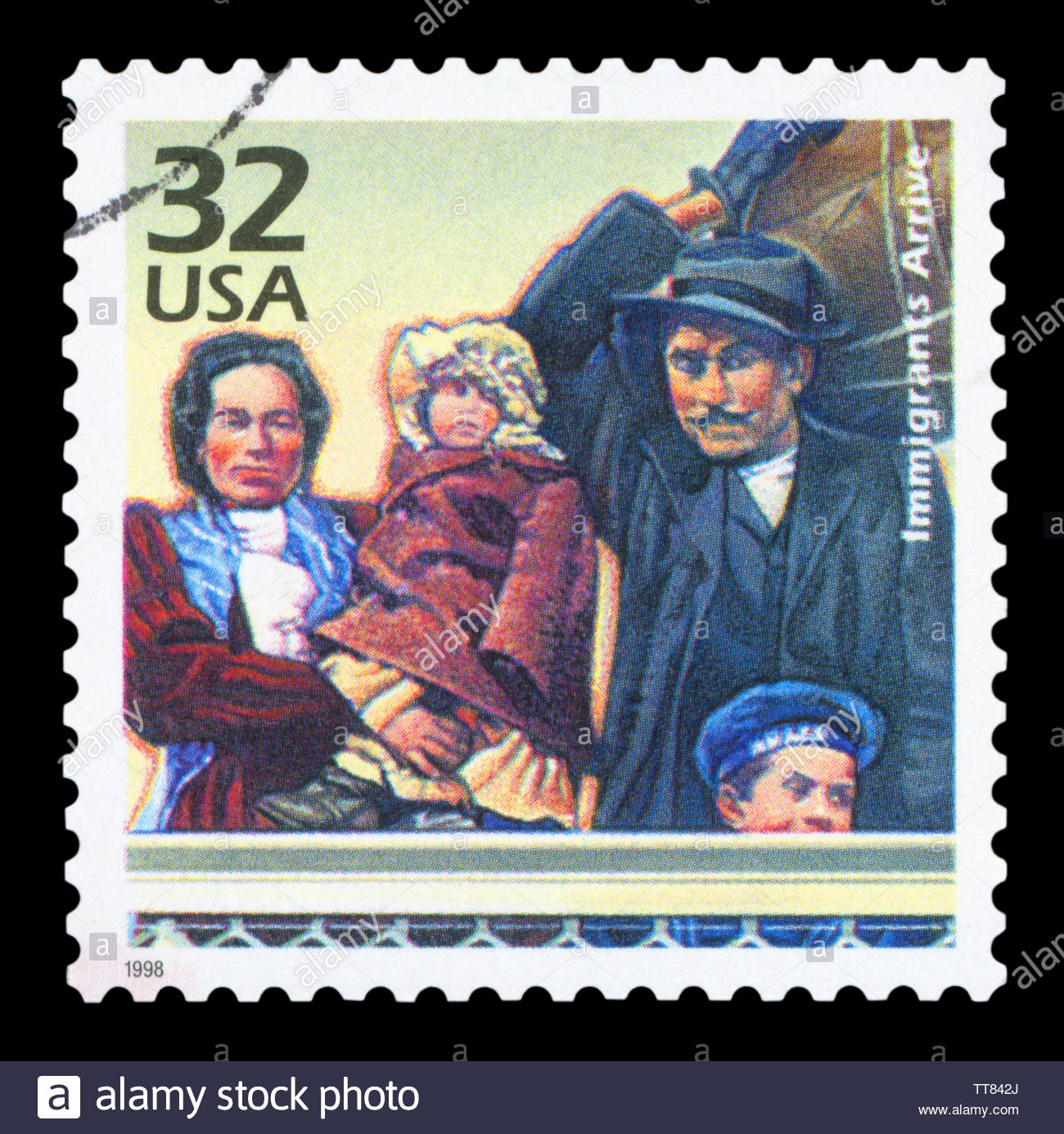 UNITED STATES OF AMERICA - CIRCA 1998: a postage stamp printed in USA showing an image of an immigrant family, circa 1998. - Stock Image