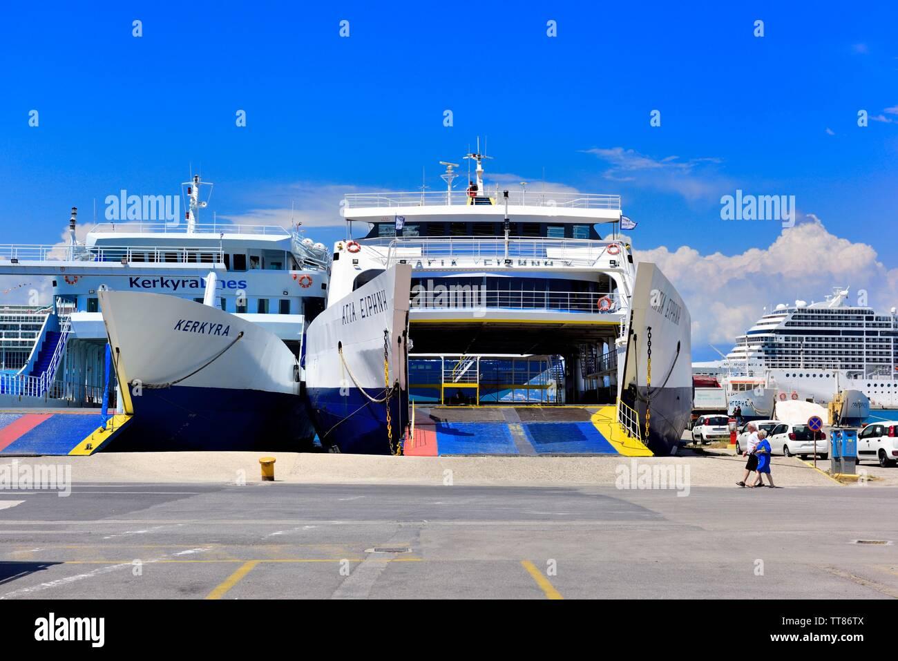 Corfu new port,car ferries waiting to load,Kerkyra,ionian islands,Greece Stock Photo