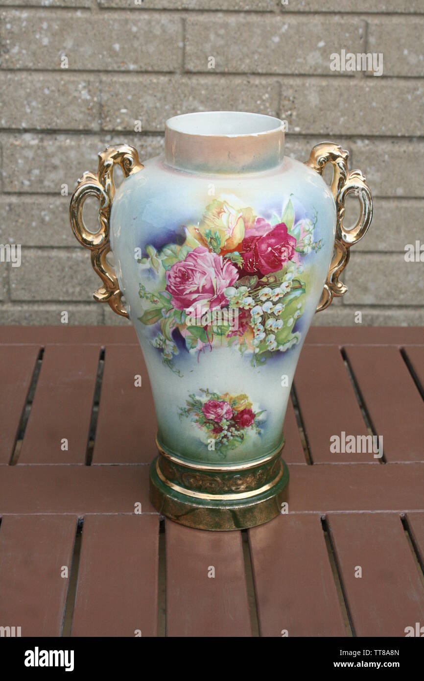 Victorian Large Ceramic Flower Vase With Gilded Handle And English Flower Decoration Stock Photo Alamy