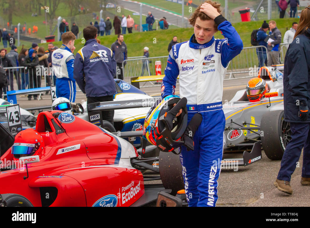 Mariano Martinez, Mexican racing driver. British Formula 4 paddock, after qualifying at Brands Hatch - Stock Image