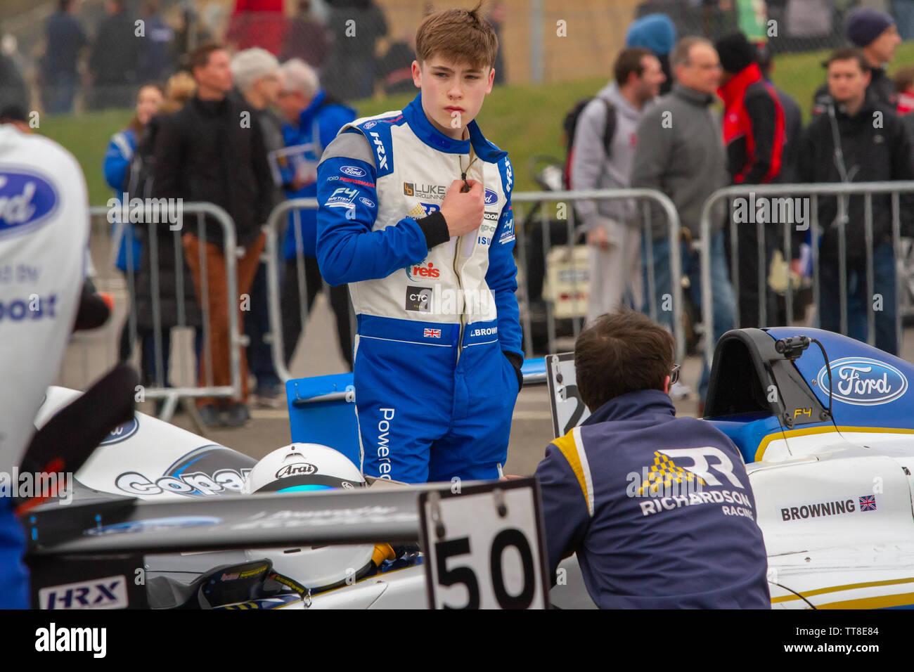 Luke Browning, British racing driver. British Formula 4 paddock, after qualifying at Brands Hatch - Stock Image