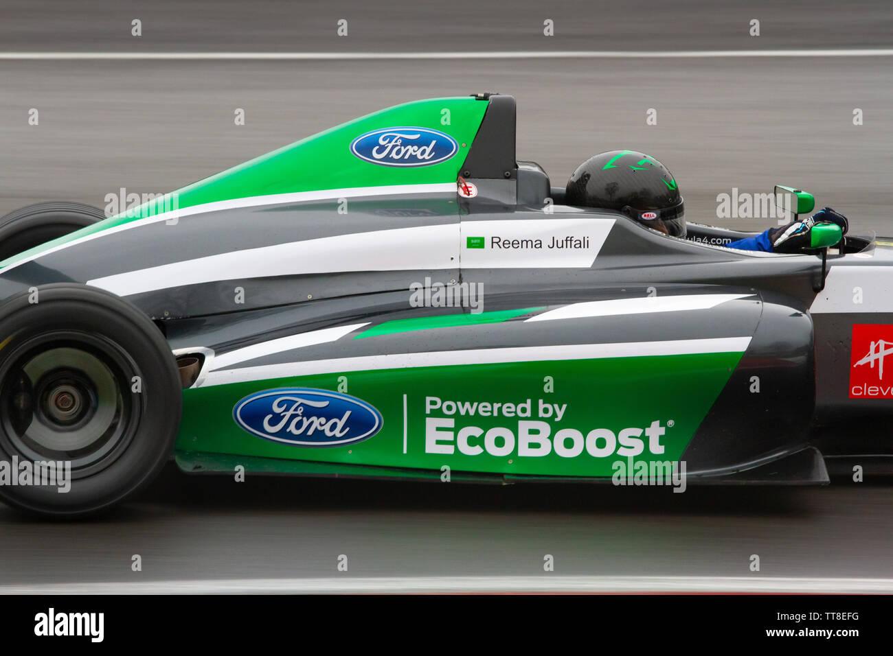 Reema Juffali, the first woman racing driver from Saudi Arabia. British Formula 4, Brands Hatch - Stock Image
