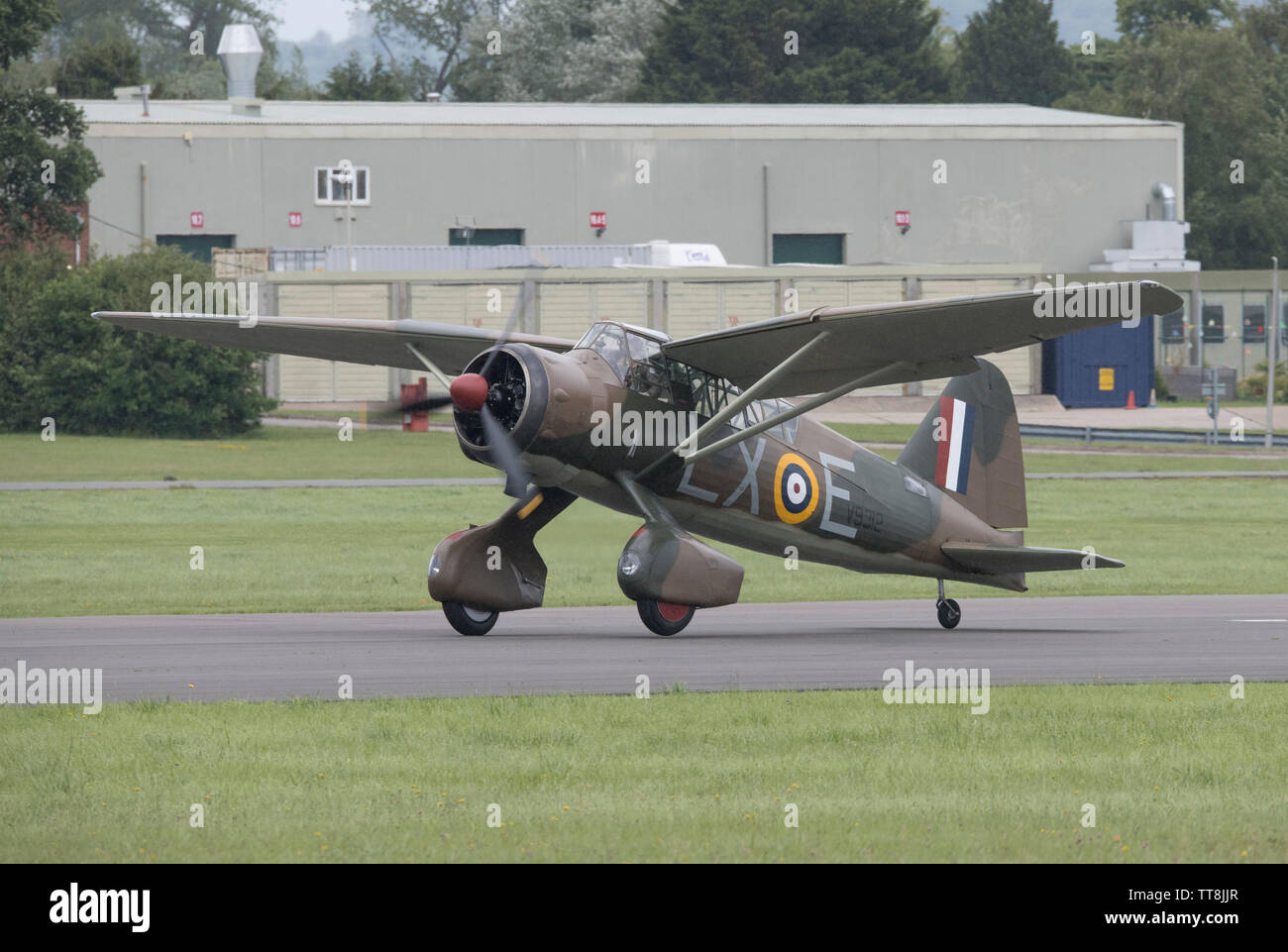 Dunsfold Park, Cranleigh, Surrey, UK. 15th June 2019. 15th and final Dunsfold Wings and Wheels features dynamic air and motoring displays, running from 15th-16th June. The historic WW2 airfield closes shortly to be demolished for new housing. Image: A WW2 Westland Lysander performs at the airshow, co-incidentally this was the first type of aircraft ever to land at Dunsfold Aerodrome. Credit: Malcolm Park/Alamy Live News. - Stock Image