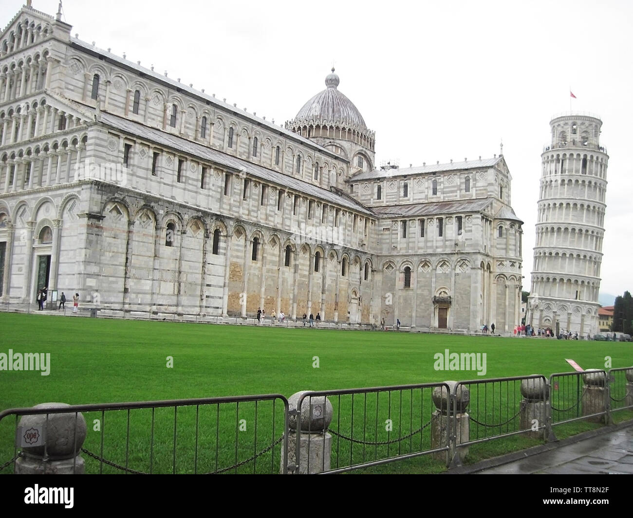 LEANING TOWER OF PISA, THE CAMPANILE,  AND THE DUOMO, CATHEDRAL,PISA, ITALY. Stock Photo