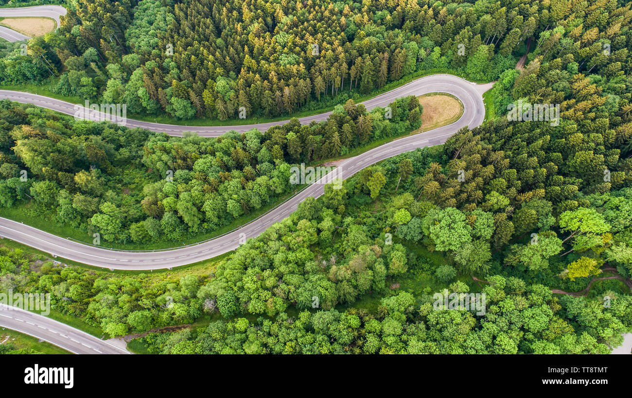 High Angle View Of Mountain Pass Road Amidst Trees - Stock Image