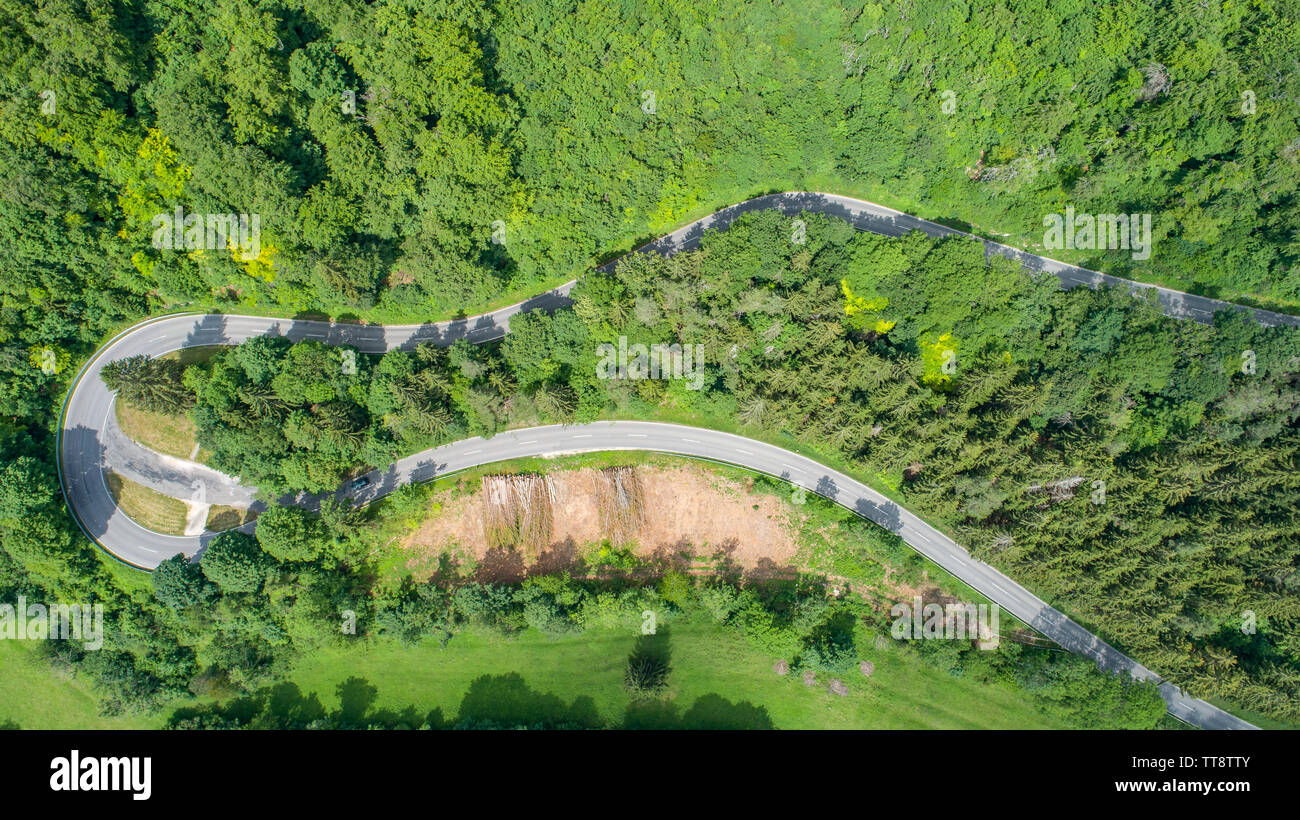 High Angle View Of Road Amidst Trees - Stock Image