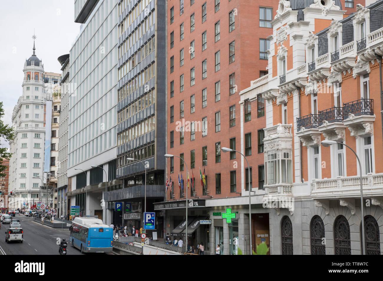 Facades on Plaza de Espana Square, Madrid, Spain - Stock Image