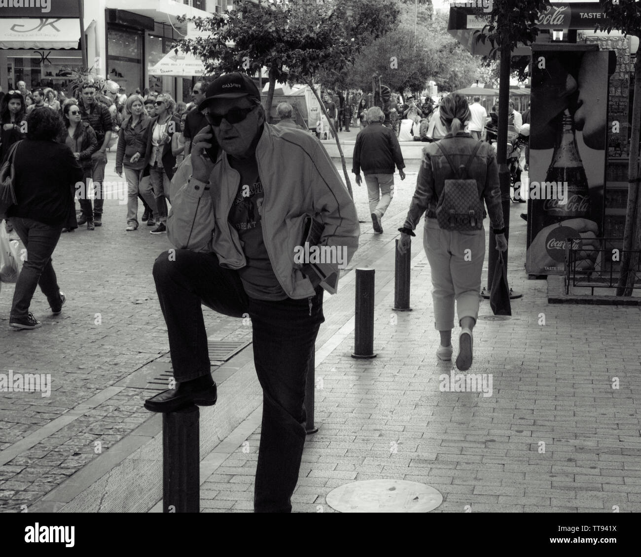 Man talking on the cell, Athens Greece - Stock Image