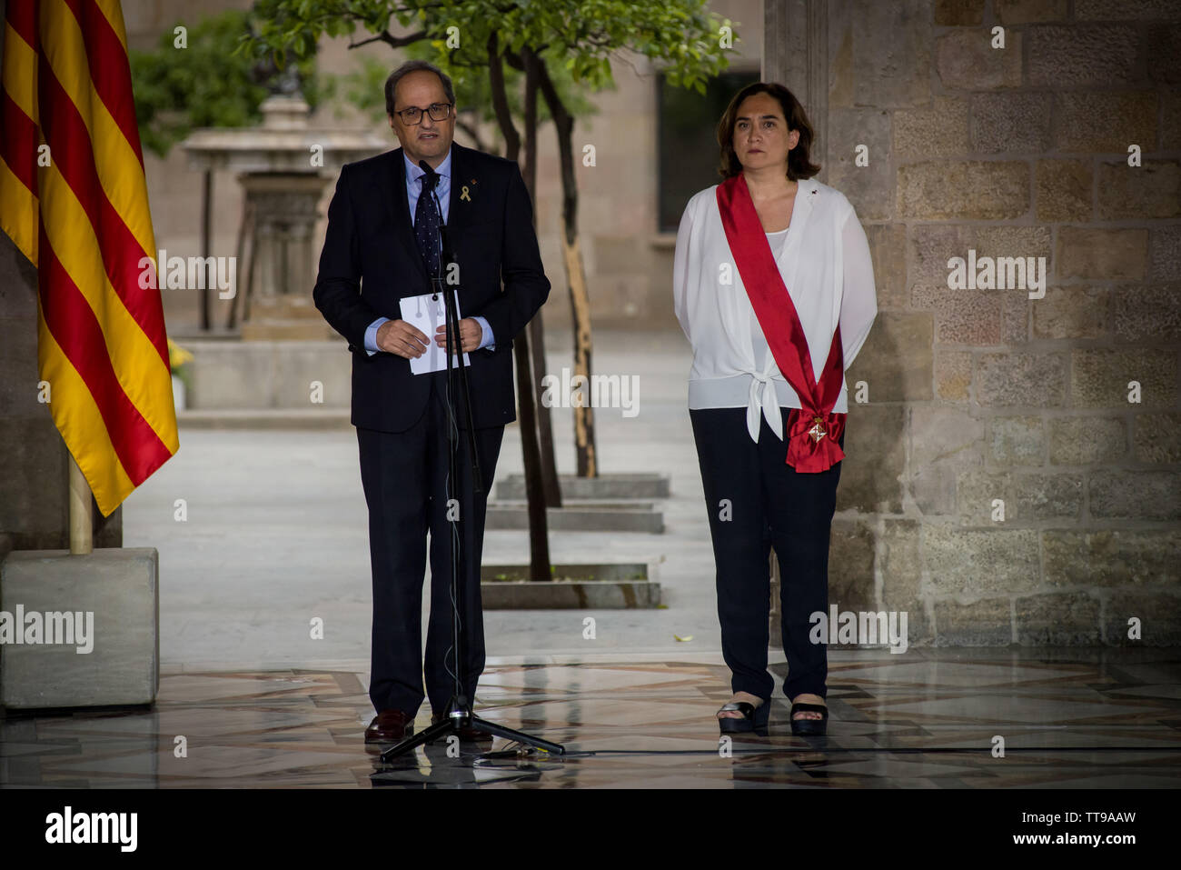 Catalan President Quim Torra has received the re-elected mayors of Barcelona Ada Colau. Ada Colau has been re-elected as mayoress for Barcelona, the pro-independence Catalan Republican Left party won marginally more votes than Colau's group, but Colau retains office after reaching an agreement with the Catalan branch of the socialist party and Manuel Valls councillors. - Stock Image