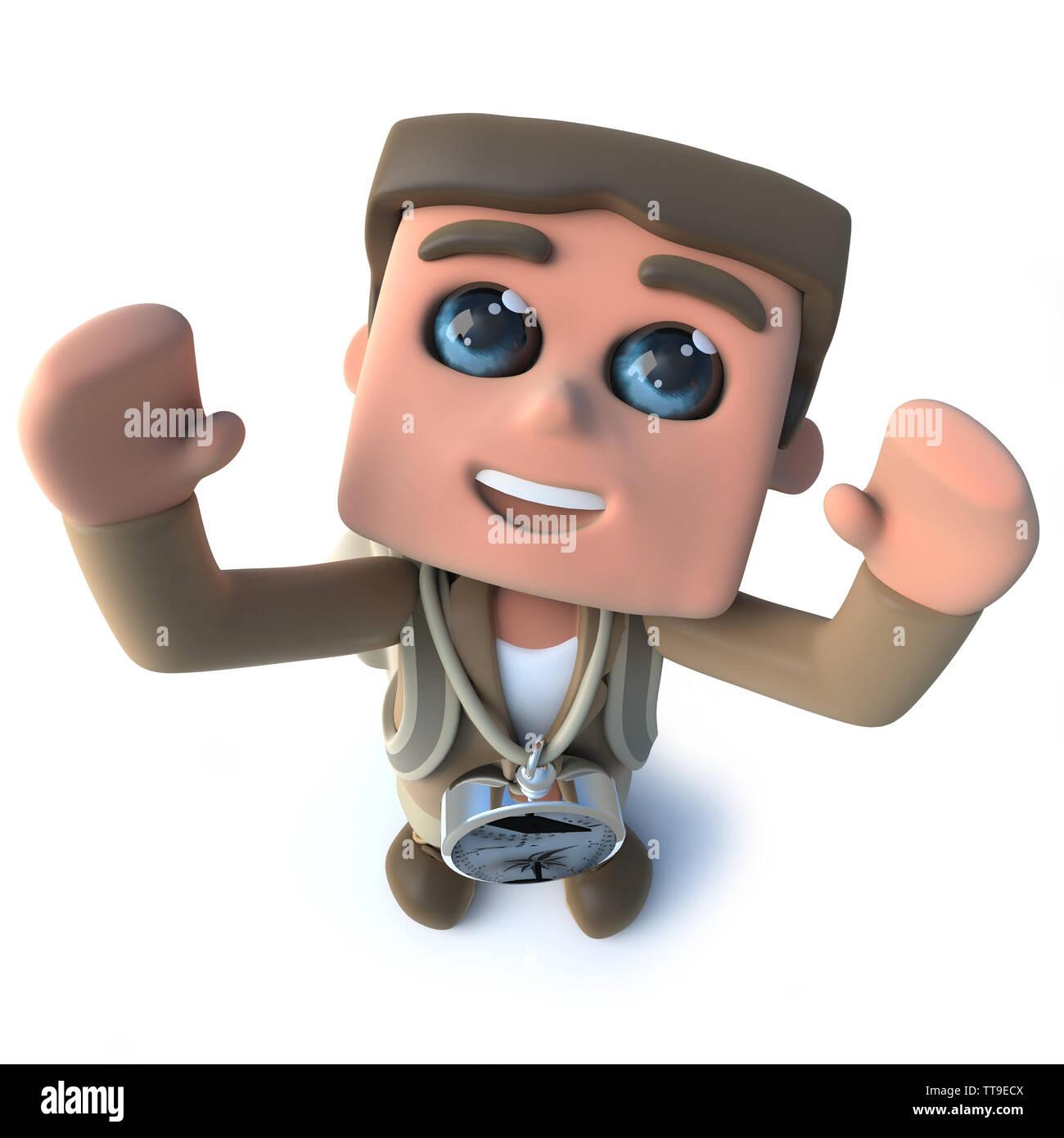 3d render of a funny cartoon explorer adventurer cheering happily - Stock Image