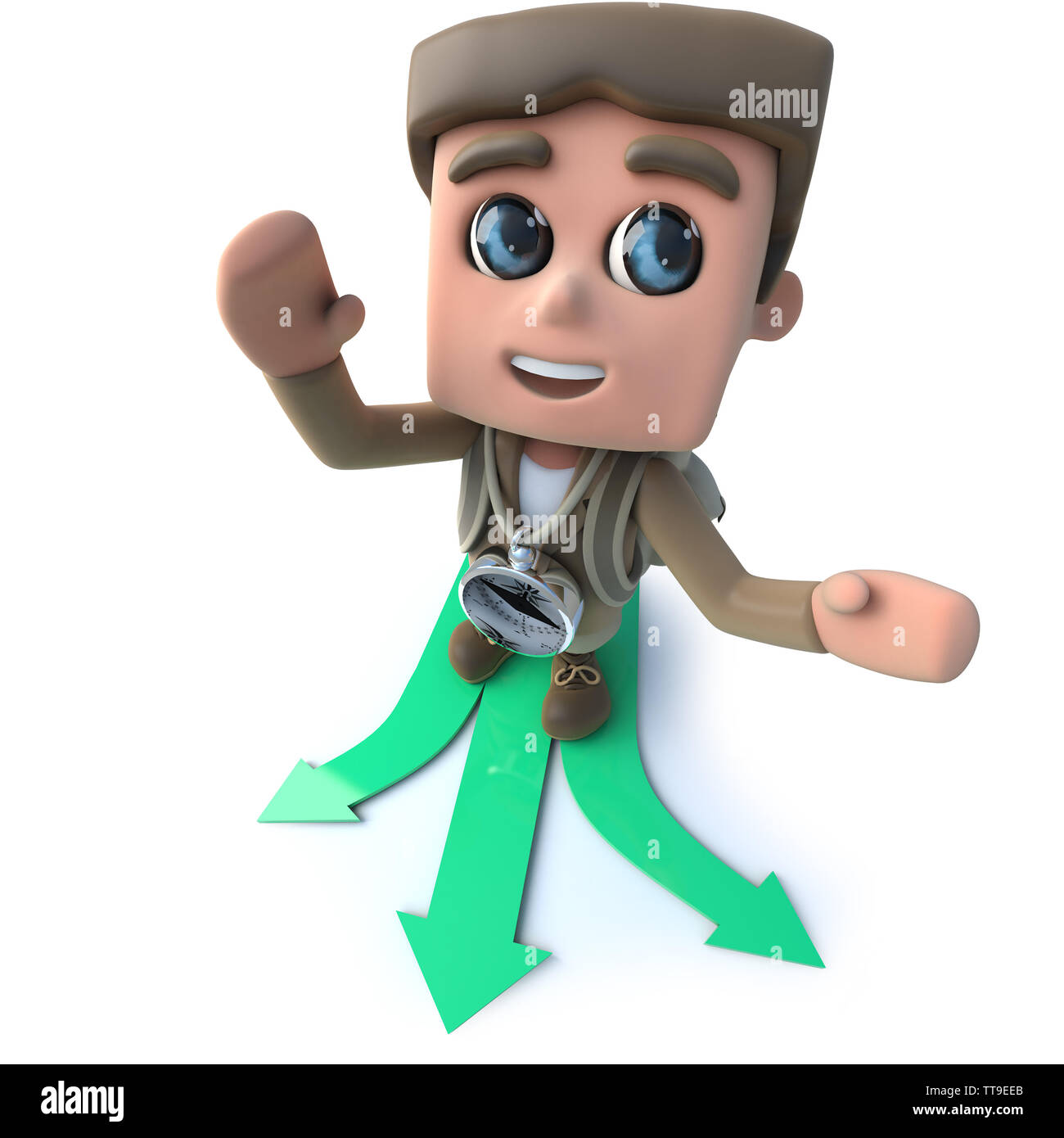 3d render of a funny cartoon hiker choosing which direction to travel - Stock Image