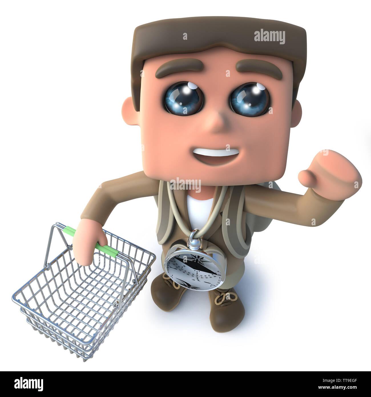 3d render of a funny cartoon hiker explorer holding a shopping basket - Stock Image