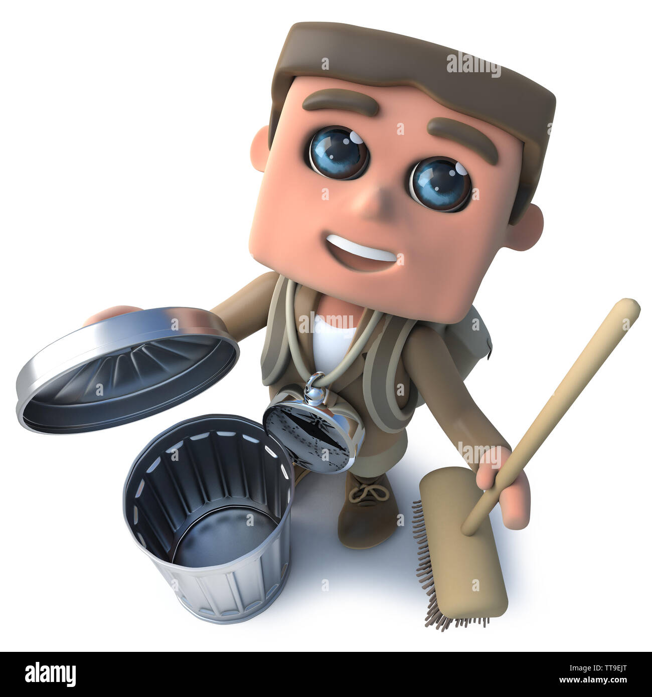3d render of a funny cartoon hiker explorer with broom and trash can - Stock Image