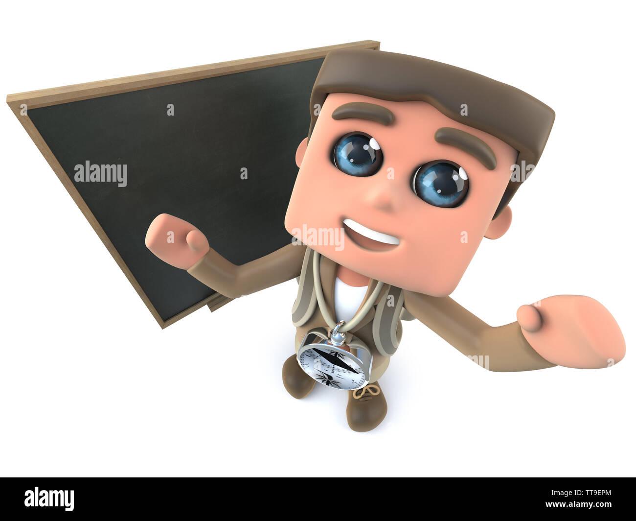 3d render of a funny cartoon hiker explorer standing in front of a blackboard - Stock Image