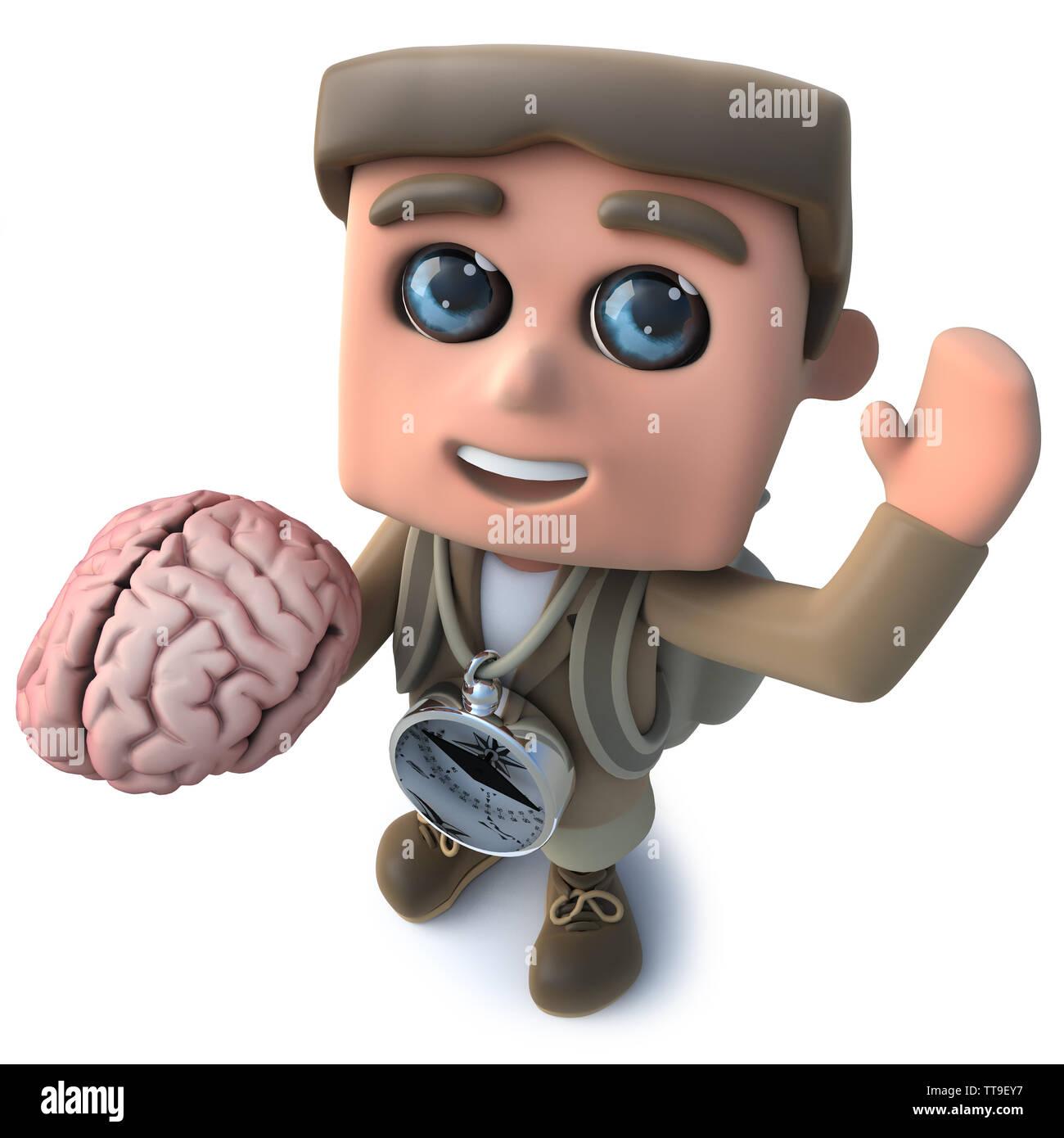 3d render of a funny cartoon hiker adventurer character holding a human brain - Stock Image