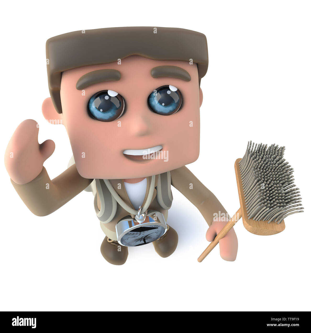 3d render of a funny cartoon explorer adventurer holding a broom and waving - Stock Image