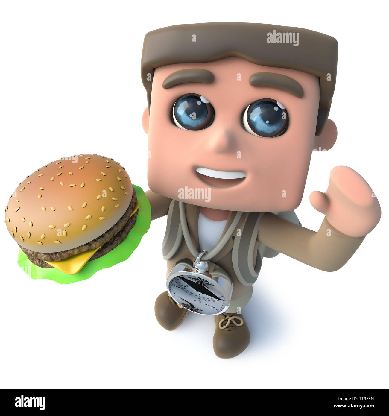 3d render of a funny cartoon explorer adventurer holding a tasty cheese burger - Stock Image