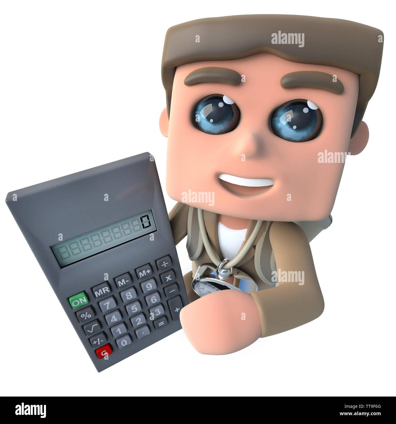 3d render of a funny cartoon explorer adventurer holding a digital calculator - Stock Image