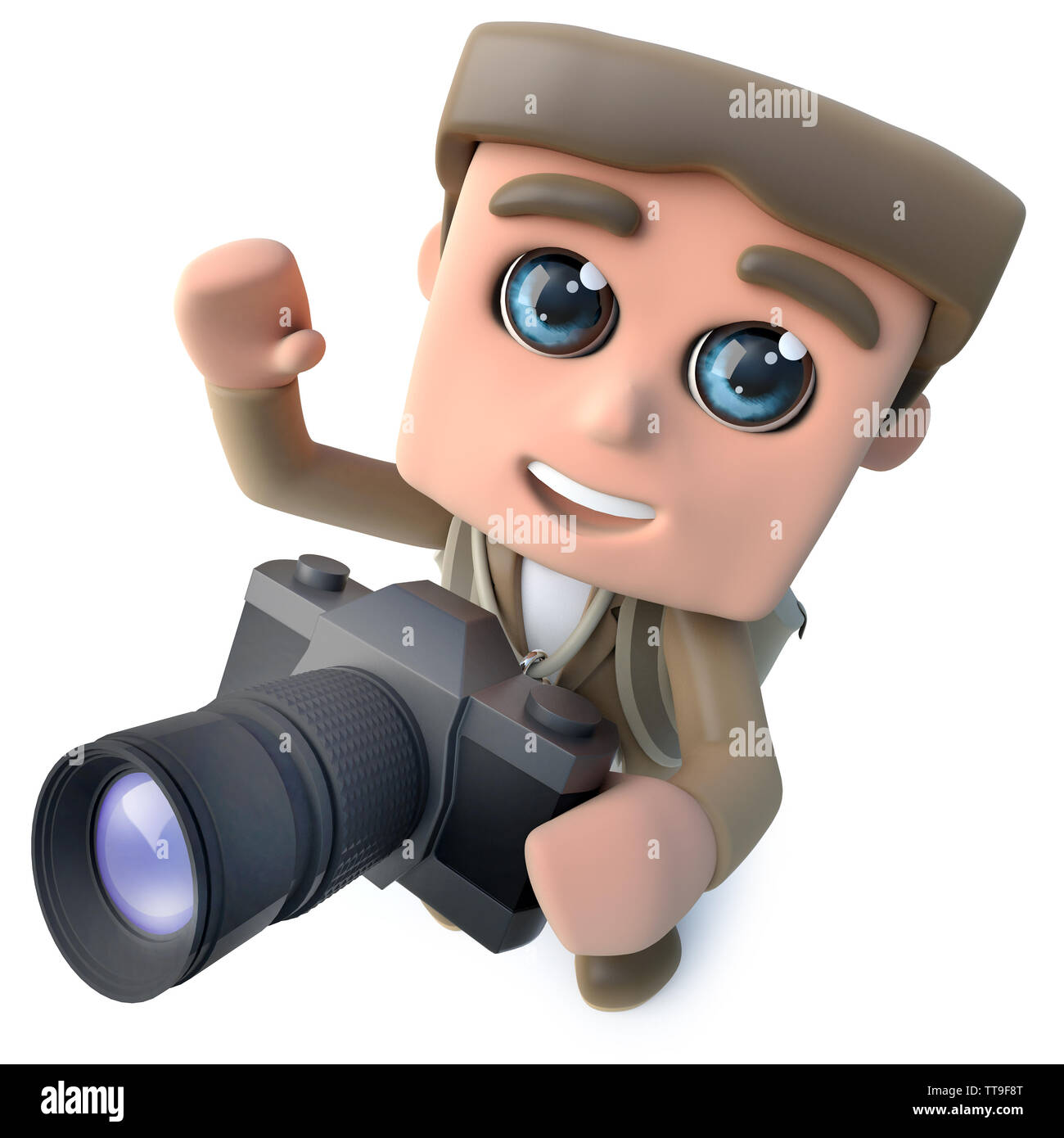 3d render of a funny cartoon hiker adventurer character taking a photo with a camera - Stock Image