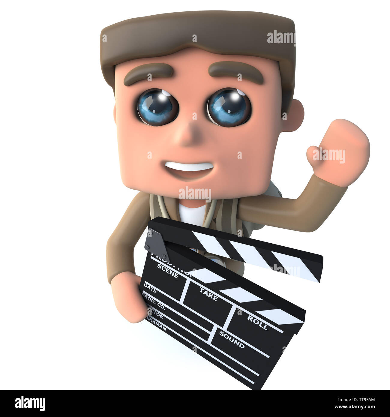 3d render of a funny cartoon hiker adventurer character holding a movie makers film slate clapperboard - Stock Image