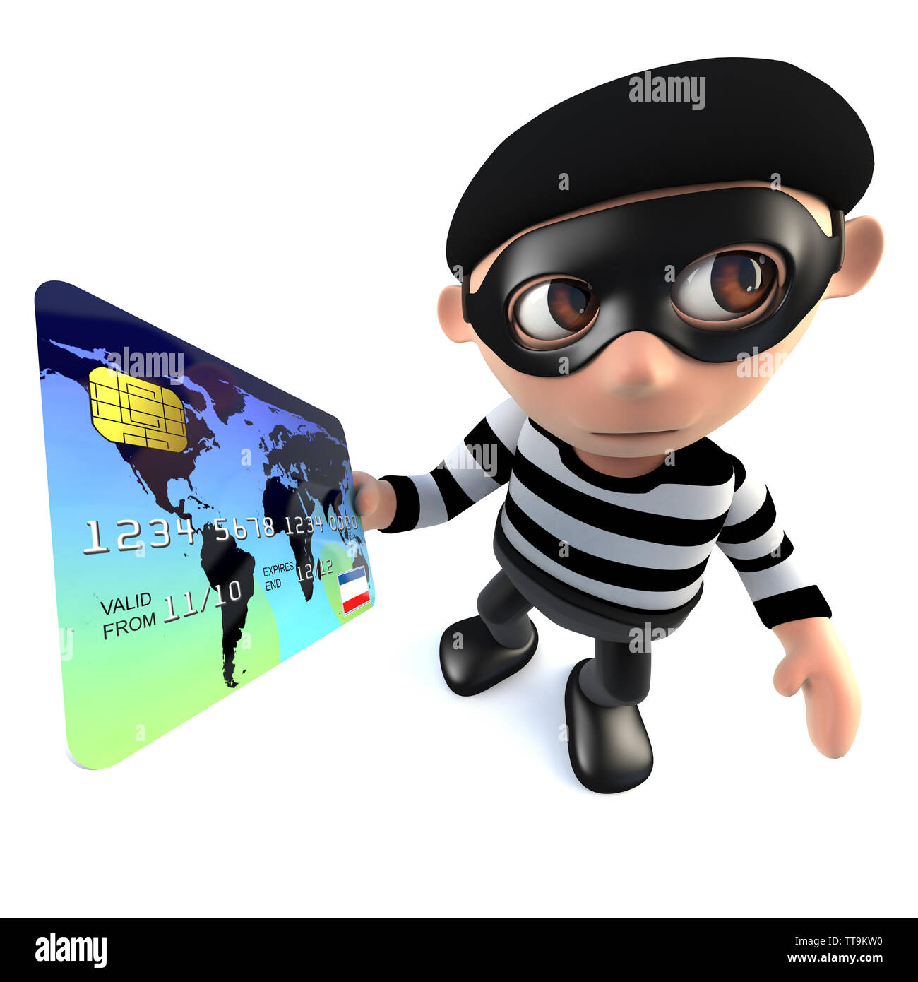 3d render of a funny cartoon burglar thief character paying with a credit card - Stock Image