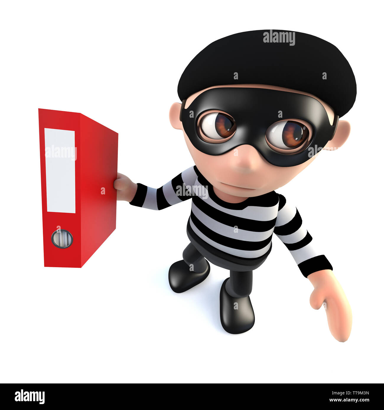 3d render of a funny cartoon burglar thief character stealing a folder full of data - Stock Image