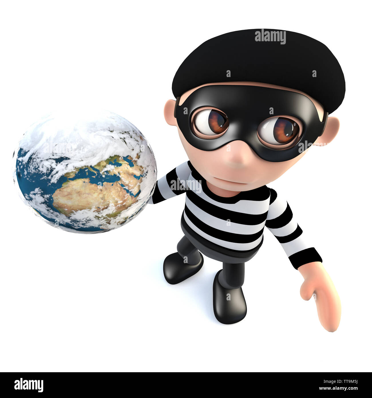 3d render of a funny cartoon burglar thief character holding a globe of the earth - Stock Image
