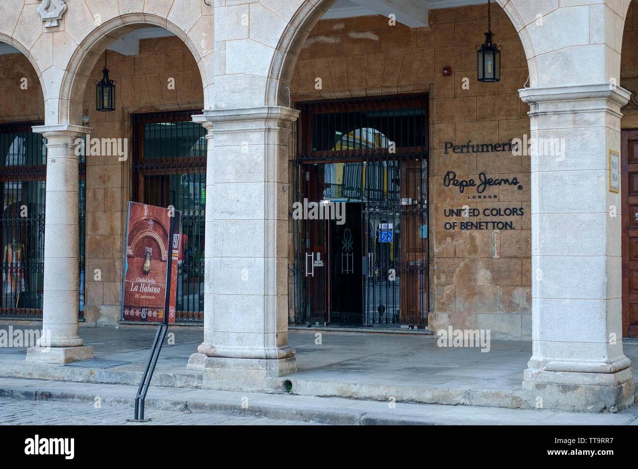 Exterior of the Benetton Shop, Plaza Vieja, Havana, Cuba - Stock Image